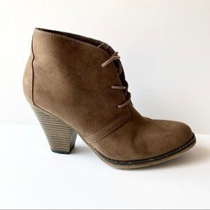 MIA Ankle Boots Suede Lace Up Block Heel Size 7.5